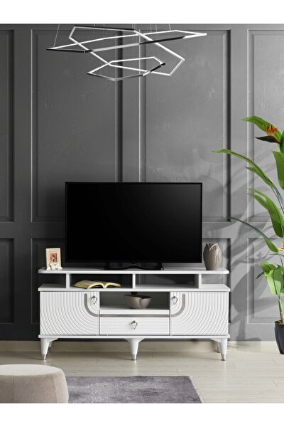 130 Cm Art Raflı Tv Sehpası Beyaz - Gümüş