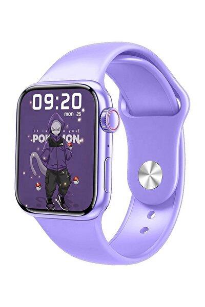 Watch 7 Series M26+ Plus Smartwatch Çift Tuş Aktif Mor Tam Ekran Dokunmatik Akıllı Saat