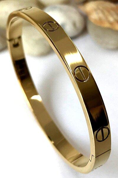 Kadın Gold Paslanmaz Çelik Bileklik 18 cm