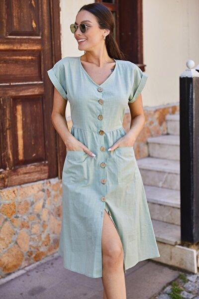 Kadın Yeşil Cepli Önü Düğmeli Elbise ARM-18Y001138