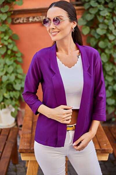 Kadın Mor Duble Kol Blazer Ceket ARM-21K001190