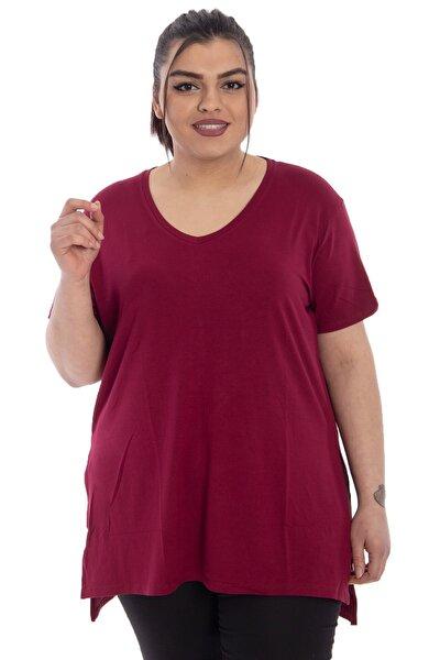 V Yaka Basic Yırtmaçlı T-shirt