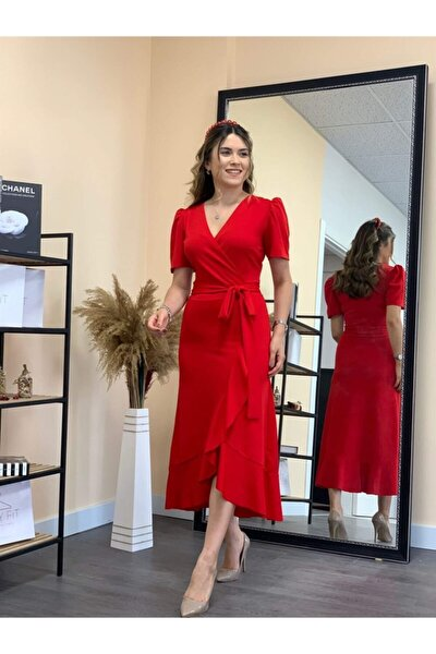 Crep Kumaş Midi Elbise Kırmızı