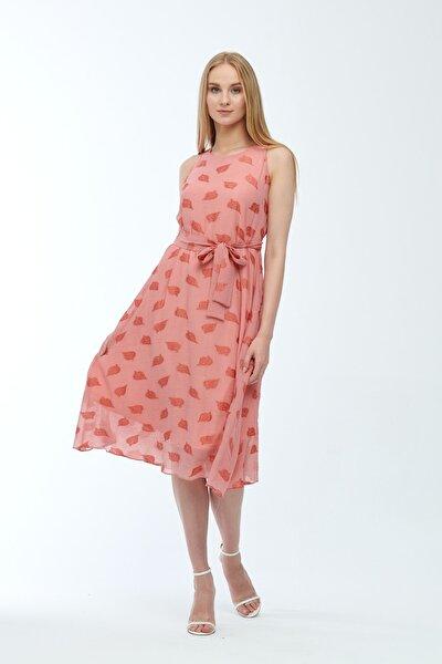 Pudra Kolsuz Kuşaklı Astarlı Pamuklu Kumaş Elbise Je545319
