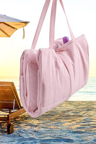 Plaj - Şezlong Havlu Yastıklı Çok Amaçlı Çanta Yastık Takımı Pembe