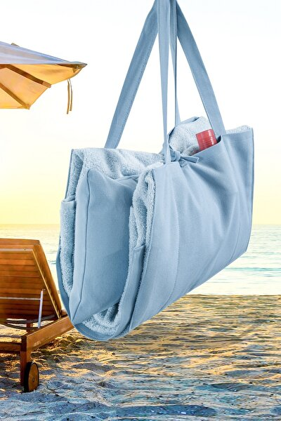 Plaj - Şezlong Havlu Yastıklı Çok Amaçlı Çanta Yastık Takımı Mavi