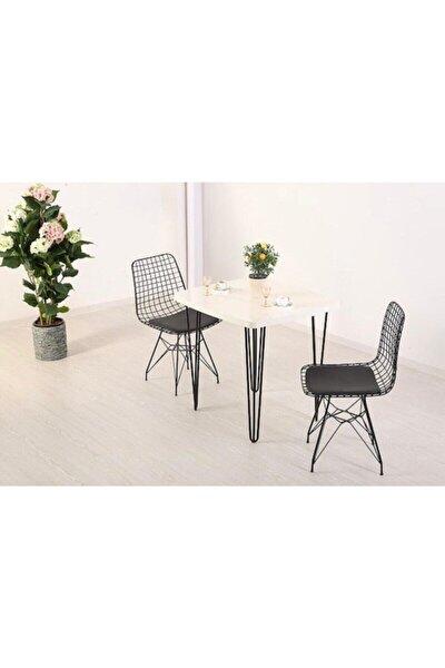 Beyaz 60x70 Firkete Masa Sandalye Takımı 1 Masa 2 Sandalye Seti
