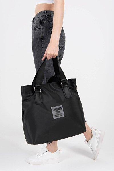 Kadın Siyah Çıtçıt Detaylı Büyük Çanta