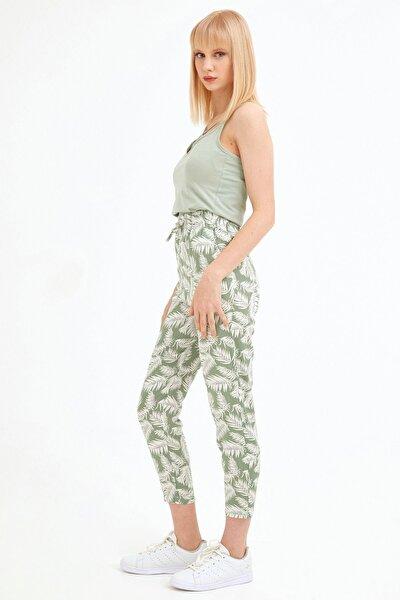 Kadın Yeşil Palmiye Desenli Pantolon