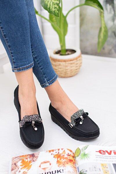 Kadın Siyah Dili Taşlı Yüksek Taban Ortopedik Pedli Ayakkabı