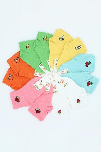 Ada Çorap Çocuk 6'lı Çok Renkli Meyve Emojili Çorap