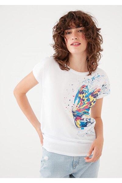 Kelebek Baskılı Beyaz Tişört 1601004-620