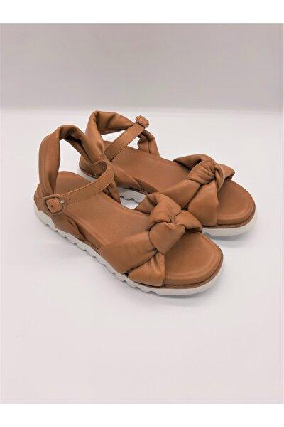Örgülü Kadın Sandalet Kahverengi