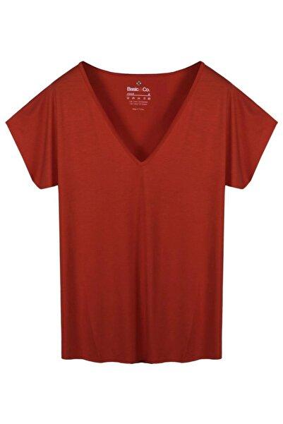 V Yaka Kırmızı Basic Viskon T-Shirt