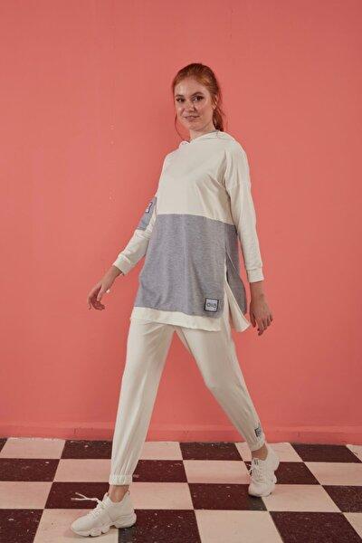 S-19184 Beyaz Yazlık Pamuklu Çift Renk Uzun Alt Üst Tunik Pantolon Eşofman Takım
