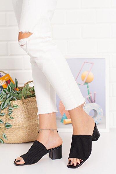 Kadın Topuklu Triko Terlik