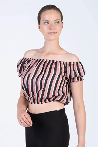 Kadın Çizgili Beli ve Yakası Lastikli Crop Bluz