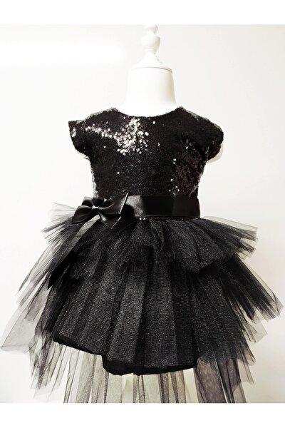 Kız Çocuk Siyah Tüllü Pul Payetli Parti Prenses Elbisesi