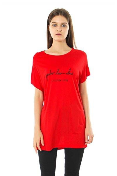 Kadın Fashion Vıctım Baskılı Yuvarlak Yaka T-shirt - Kırmızı