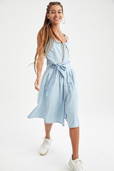 Kuşak Detaylı Jean Midi Gömlek Elbise