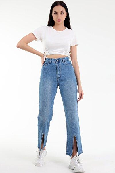Özel Ve Farklı Tasarım, Rahat Kesim, Yüksek Bel, Yıpratmalı, Bilek Yırtık Mom Kot Pantolon
