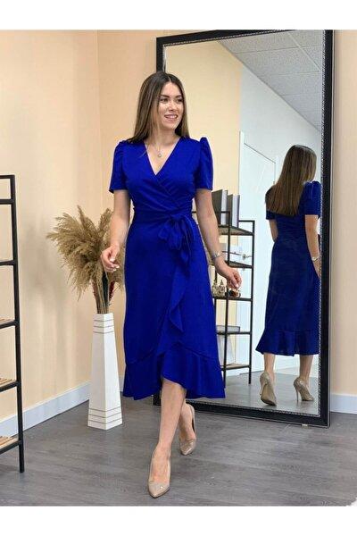 Crep Kumaş Midi Elbise - Saks Mavisi