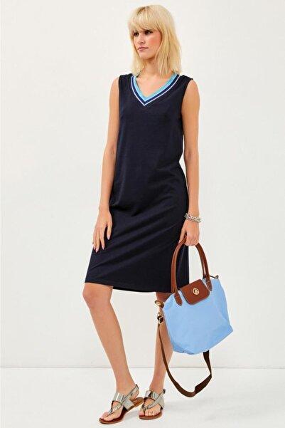 V Yaka Yakası Simli Bantlı Kolsuz Lacost Elbise 021-2520