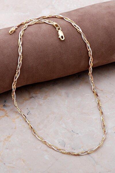 Italyan Örgü Altın Yaldızlı Rose Gümüş Kolye 7182