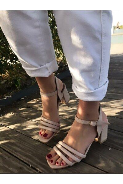 Nude Krem Bej Kalın Kısa Topuk Günlük Renkli Sandalet