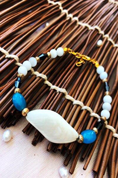 Dr Stone Doğaltaş el yapımı  afrika koleksiyonu Kadın sedef taşı Bileklik YAHL33