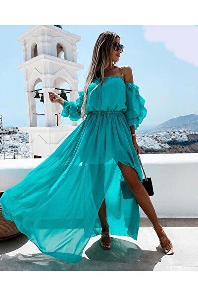 Bel Büzgülü Şifon Elbise / 91