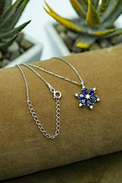 Kadın 925 Ayar Gümüş Mavi Zirkon Taşlı Manolya Çiçeği Kolye