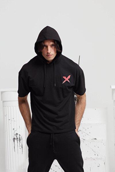 Erkek Kısa Kollu Ön Ve Sırt Baskılı Kapüşonlu Oversize T-shirt