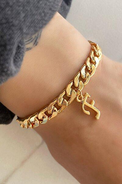 F Harfli Altın Renk Zincir Bileklik