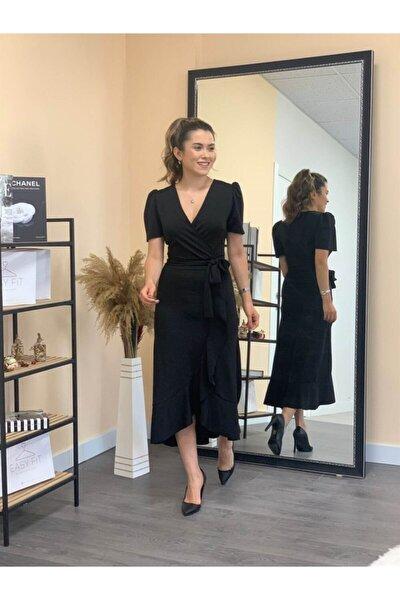 Crep Kumaş Midi Elbise  Siyah