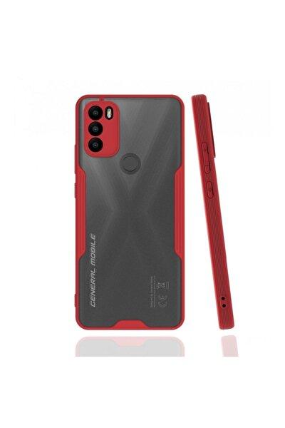 General Mobile Gm21 Plus Uyumlu Kılıf Kamera Korumalı Colorful Kapak - Kırmızı