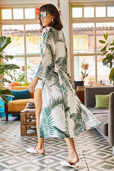 Kadın Beyaz Yeşil Yırtmaçlı Kuşaklı Dokuma Viskon Kimono KMN-00000044