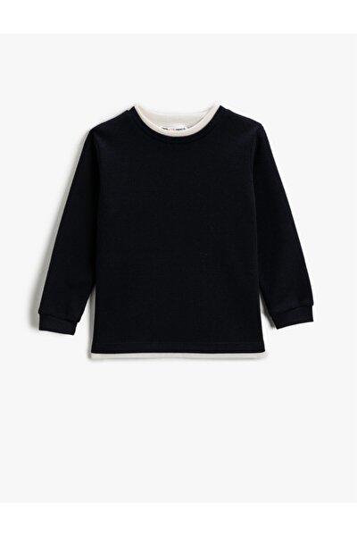 Erkek Çocuk Lacivert Yaka Detayli Sweatshirt