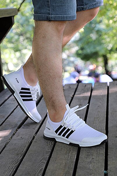 Beyaz Siyah Unisex Ortopedik Spor Sneaker Ayakkabı