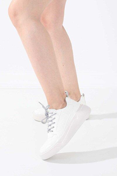 65155 Kadın Spor Ayakkabı Beyaz Rugan