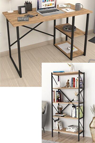 2 Raflı Çalışma Masası Bilgisayar Masası Ofis Ders Masası + 5 Raflı Kitaplık Metal Kitaplık Çam