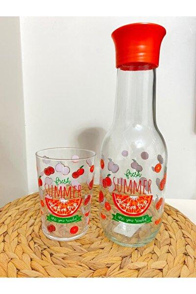 Tombul Su Şişesi ve Su Bardağı Desenli Summer Fresh