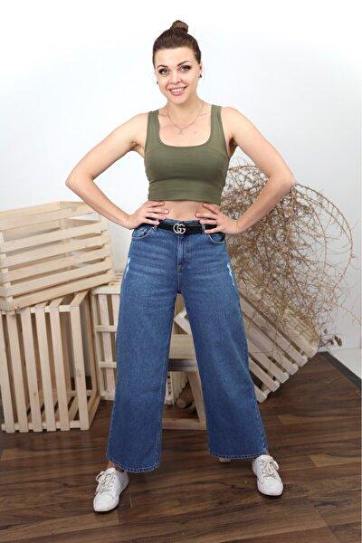 Mavi Yüksek Bel Bol Paça Yıpratmalı 5 Cep Pantolon