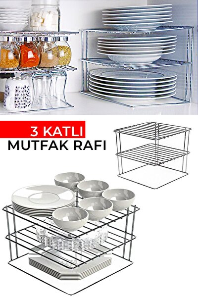 3 Katlı Dolap İçi Metal Mutfak Rafı