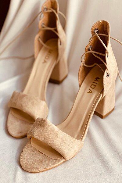Ten Süet Üç Bantlı Topuklu Ayakkabı
