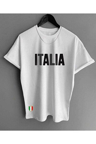 Erkek Beyaz Italia Yazılı Baskılı T-shirt