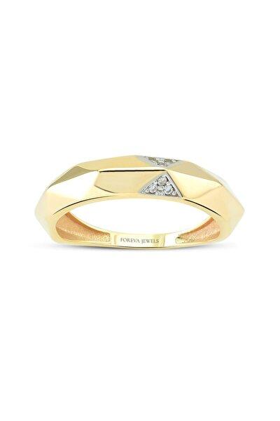 Minimalist Üçgen Taşlı Tasarımlı Altın Kaplama 925k Gümüş Yüzük