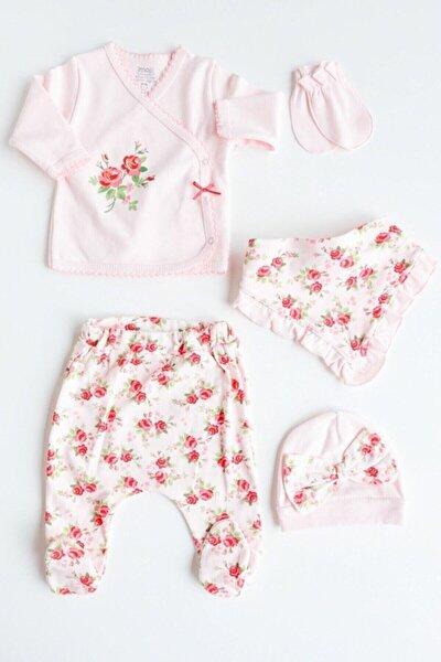 Kız Bebek Pembe Gül Desenli 5 Parça Takım