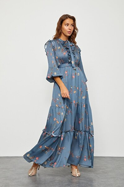 Puslu Deniz Floral Desen Maxi Elbise