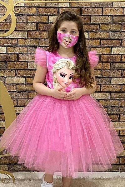 Frozen Kız Maskeli Parti Elbisesi